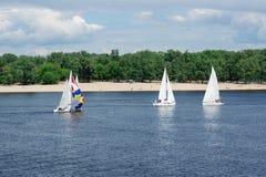 Regatta rywalizacja na jeziornych rzecznego żeglowania jachtów łodziach z bielu gennaker i żaglami zdjęcie royalty free