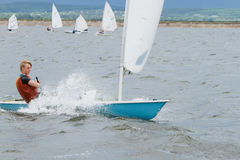Regatta, sailing,yachtsman. Sailing competitions. The yachtsman on the yacht Stock Images