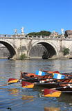 Regatta on tiber river Royalty Free Stock Photos