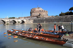 Regatta on tiber river Royalty Free Stock Photo