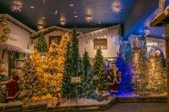 Regeer van Santa Claus-winkel met christasbomen, lichten en decoratie stock afbeelding