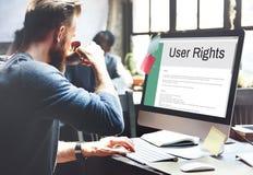 Regel-Politik-Regelungs-Konzept der Benutzer-Recht-allgemeinen Geschäftsbedingungen Stockfoto