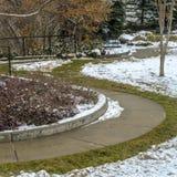 Regel prachtig gemodelleerd van A park in Salt Lake City met sneeuw in de winter wordt bedekt die royalty-vrije stock fotografie