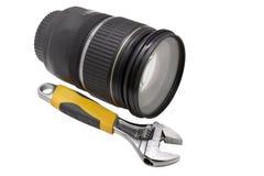 Regelbaar moersleutel en voorwerp-glas Stock Afbeeldingen