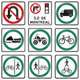 Regelgevende verkeersteken in Quebec - Canada Stock Foto's