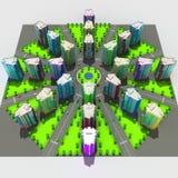 Regeling van de stedelijke episode met hetzelfde type van de bouw van typische high-rise gebouwen 3D Illustratie Stock Foto's
