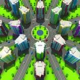 Regeling van de stedelijke episode met hetzelfde type van de bouw van typische high-rise gebouwen 3D Illustratie Royalty-vrije Stock Fotografie