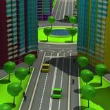 Regeling van de stedelijke episode met hetzelfde type van de bouw van typische high-rise gebouwen 3D Illustratie Royalty-vrije Stock Afbeelding