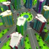 Regeling van de stedelijke episode met hetzelfde type van de bouw van typische high-rise gebouwen 3D Illustratie Stock Afbeelding