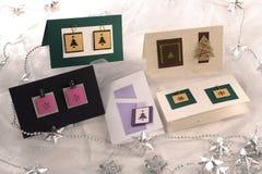 Regeling van Nieuwjaar` s kaarten op de lijst Royalty-vrije Stock Foto's