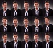 Regeling van vele grappige gezichten Stock Foto