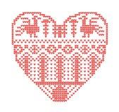 Regeling voor het breien, geometrisch malplaatje met gestileerd hart in landelijke stijl Vectorbeeldverhaal voor borduurwerk, het royalty-vrije stock afbeeldingen