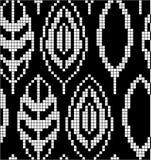 Regeling voor het breien Naadloos geometrisch patroon met decoratieve bladeren Vector grafische textuur vector illustratie