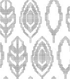 Regeling voor het breien Naadloos geometrisch patroon met decoratieve bladeren Vector textuur stock illustratie