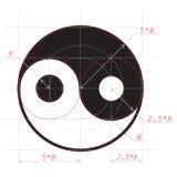 Regeling voor tekening van abstract symbool Yin en Yang Royalty-vrije Stock Foto's