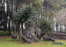 Regelingsrotsen en bomen in het achtergedeelte van de kloostergronden in de Pagode van Thien Mu in Tint, Vietnam royalty-vrije stock foto's