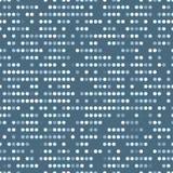 Regelmäßige vectorial Beschaffenheit von bestellten Kreisen mit gelegentlichen Räumen auf einem blauen Hintergrund Lochkartezaunt stock abbildung