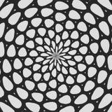 Regelmäßiges gekräuseltes Schwarzweiss-Muster radial ausgerichtet Halbtonlinie Ringillustration Abstrakter Fractal-Hintergrund stock abbildung