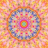 Regelmatig abstract rond bloemenornament oranjegeel roze violet blauw Stock Afbeelding