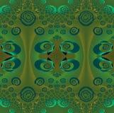 Regelmatig ellipsen en spiralenpatroon groen bruin grijs turkoois Royalty-vrije Stock Afbeeldingen