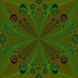 Regelmatig groen gecentreerd de oker bruin turkoois rood van het spiralenpatroon Royalty-vrije Stock Foto