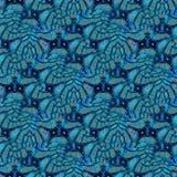 Regelmatig ingewikkeld fantasiepatroon met golvende lijnen turkooise blauwe grijze zwarte Royalty-vrije Stock Afbeeldingen
