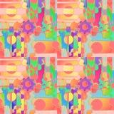Regelmatig ingewikkeld patroon met multicolored toestelwheals en cirkels Royalty-vrije Stock Foto's