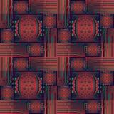 Regelmatig ingewikkeld vierkanten en rechthoekenpatroon met cirkels rode groene purples Stock Foto