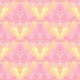 Regelmatig patroon met golvend lijnen geel roze viooltje met witte overzichten Royalty-vrije Stock Fotografie