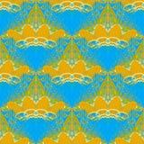 Regelmatig patroon met golvend lijnen oranje en azuurblauw blauw met witte overzichten stock illustratie