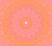 Regelmatig rond ornament roze oranjegeel viooltje Stock Afbeelding