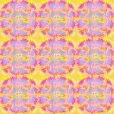 Regelmatig rond patroon in verplaatste vierkanten geeloranje roze violette lichtblauw Royalty-vrije Stock Fotografie