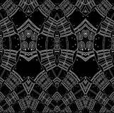Regelmatig spiralenpatroon met wiggly lijnenwit op zwarte Stock Afbeelding