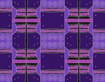 Regelmatig verplaatst spiralenpatroon met golvende lijnen purpere violette grijze zwarte Stock Fotografie