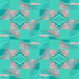 Regelmatig vierkanten en diamantpatroon met verplaatst cirkels roze en turkooise groen Stock Foto