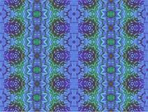 Regelmatige bloemenornamenten purpere lichtblauwe groene naadloos Stock Foto