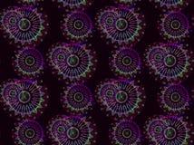 Regelmatige gevoelige bloemenornamenten violette purpere groen op donkere bruin Royalty-vrije Stock Foto's