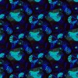 Regelmatige naadloze ingewikkelde zwarte donkerblauwe turkooise bruin van het spiralenpatroon, overladen en dromerig Royalty-vrije Stock Afbeeldingen
