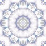 Regelmatige ronde gevoelige bloemen gecentreerd ornament witte blauwe grijs Royalty-vrije Stock Foto