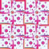 Regelmatige vierkanten en het concentrische witte violette roze oranje donkerblauwe wit van het cirkelspatroon Royalty-vrije Stock Foto
