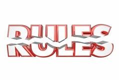Regeln, die Gesetzesdas illegale Wort-Knacken brechen stock abbildung