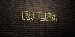 REGELS - Realistisch Neonteken op Bakstenen muurachtergrond - 3D teruggegeven royalty vrij voorraadbeeld Royalty-vrije Stock Foto