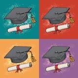 Regelt de pop-art vectorachtergrond met Gediplomeerde beeldverhaal zwarte hoed met diploma, graduatiekappen, academisch GLB, univ royalty-vrije illustratie