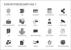 Regelungsikonen der Datensicherheit und des Schutzes der allgemeinen Daten Lizenzfreie Stockfotos