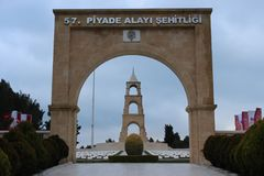 Regemente 57 av kyrkogårdar och monumentet Arkivfoto