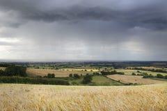 Regen über Warwickshire Stockbild
