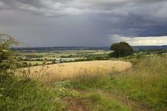 Regen über Warwickshire, England Stockfoto
