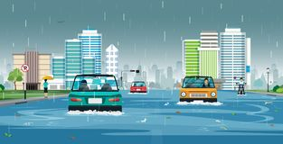 Regen überschwemmte die Stadt Lizenzfreies Stockbild
