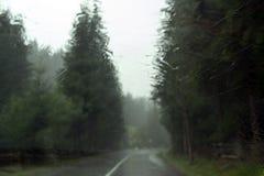 Regen auf Autovorderfenster Stockfoto