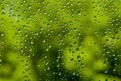 Regen auf dem Glas Stockfoto